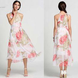 Wholesale Empire Halter - 2017 New Ladies Chiffon Long Maxi Dresses Halter Sleeveless Flouncing Floral Sundress Dress For Casual Beach