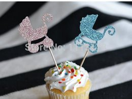 Wholesale Cheap Cupcake Cakes - Custom cheap Baby Carriage Glitter Cupcake Toppers Baby Shower Gender Reveal party Toothpicks wedding bridal shower Party Decoration