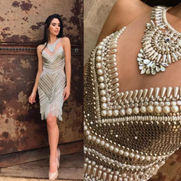 Wholesale Diamond Evening Dresses - Beads Pearls Sequined Evening Dresses Diamond Jewel Neck Sleeveless Luxury Tassel New Arrival Knee Length Party Dress Sheath Pageant Gowns