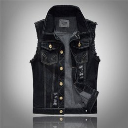 Männer s lässige weste stile online-sommer stil designer modemarke männer denim weste schlank schwarz Oberbekleidung herren denim Mäntel jacken lässig Sleeveless weste 5XL