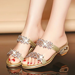 Wholesale Ladies Silver Rhinestone Shoes - New female Sandal Women's chunky heels Shoes Rhinestone non-slip slippers Ladies beach slipper Woman open-toed Sandals