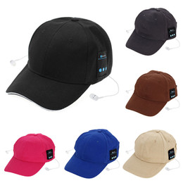 Wholesale Ear Cap Iphone Mix - 5 Colors Bluetooth Music Earphone Hat Baseball Caps Sunhat With Bluetooth Travel Sports Bluetooth Headset Stereo Headphone CCA4881