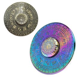 Wholesale Wholesale Flying Saucers - Newest Egyptian Zodiac UFO Hand Spinner Zinc Alloy Flying Saucer Fidget Spinner EDC Toys Decompression Anti-anxiety Finger Gyro Toys