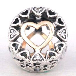 S925 plata esterlina 14K oro real amoroso círculo encanto del grano con Cz adapta el collar de pulseras de la joyería del estilo de Pandora europeo desde fabricantes