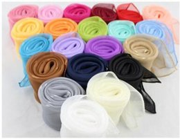 Wholesale Chiffon Silk Scarf Solid Color - 50*50cm Square Scarves Pure Silk Chiffon Solid Color Candy color Windproof Women Scarves Chiffon Scarf Square Scarves