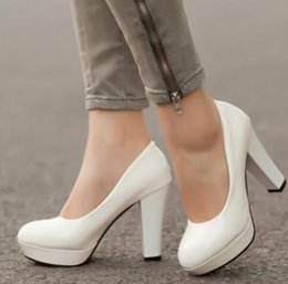 Wholesale White Princess Wedding High Heels - 2017 Fashion japanned leather Party high-heeled platform Wedding Shoes women's shoes thick heel princess bridal shoes