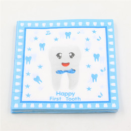 Wholesale Tissue Paper For Packing - Wholesale- Blue Happy First Tooth Printed Paper Napkin Napkin For kinds party Decoupage Festas Tissue Servilleta 33cm*33cm 20pcs pack lot