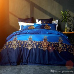 Wholesale royal blue bedding - New 100% Cotton Embroidery Bedding Sets Unique Color Royal Blue 4 Pieces Home Textiles 3D High Quality 60S