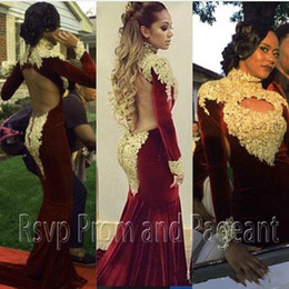 Wholesale Trend Evening Dress - High Neck Mermaid Long Sleeve Evening Dresses 2017 Trends Burgundy Velvet Gold Applique Backless arabic dubai Occasion Formal Prom Gowns