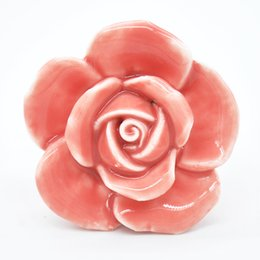 Wholesale Flower Ceramic Knobs - Wholesale- 5 Colors Rose Flower Handles Cabinet Ceramic Knobs Flowers Kitchen Handles Dresser Closet Kids Bedroom Furniture