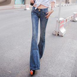 Wholesale wide flare jeans - Wholesale- Super 2016 Vintage Low rise Women Skinny Jeans wide leg womens flare jeans femme stretch calsa denim jean push up