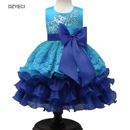 Wholesale Tutu Style Wedding Dress Prom - Bridesmaid Wedding Dress For Baby Girl Lace TUTU Party Dresses Fashion Children Sleeveless Big Bow Sequins Prom Pageant Costume