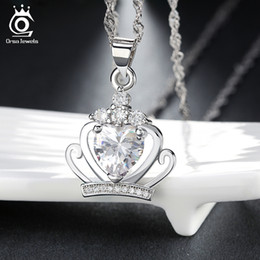 Wholesale 925 crown earrings wholesale - Crown Necklace Pendant,925 Sterling Silver & Austrian Crystal,3 Layer Platinum Plated ON43 FREE GIFT EARRING ON43