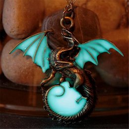 Wholesale Girls Dragon Jewelry - Game of Thrones Glow in The Dark Dragon Movie Pendant Necklace Punk Vintage Jewelry Gift for Boys Girls Friend