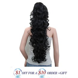 Wholesale Hair Curly Pony Tail Piece - Wholesale-32'' Synthetic Ponytail Wowen Curly Wavy Claw Clip Drawstring Pony Tail Hair Extension hair pieces heat resistant fake hair pad