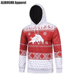 Wholesale Deer Jumpers - Wholesale- ALMOSUN Ugly Christmas Three Deers Pocket 3D All Over Printed Hoodie Sweatshirt Hip Hop Streetwear Jumper Hipster Unisex