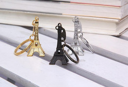 Wholesale Advertising Chain - Couple Lovers Key Ring Advertising Gift Keychain Alloy Retro Eiffel Tower Key Chain Tower French France Souvenir Paris Keyring