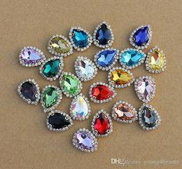 Wholesale Drops Sew Stones - 21pcs pack 18*23mm mixed colors glass Crystal claw Rhinestones flatback sewing-on garment decorative tear-drop stones.