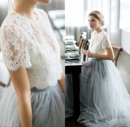 Wholesale Pale Pink Short Gown Dresses - 2017 Two Pieces Country Wedding Dresses Beach Bohemian Lace Tulle Bridal Gowns Sheer Neck Short Sleeves Pale Blue Colored Guest Party Gowns