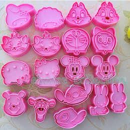 Wholesale Chocolate Rabbit Cartoon - 1set 2pcs Cartoon Mickey Rabbit Winnie etc Shape Cookie Chocolate Cutters Biscuit Fondant DIY Plunger Cutter Mold Baking Moulds