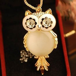 Wholesale Opals Big - Wholesale-New (mix order) Fashion jewelry Cute big opal owl pendant necklace long chain N821