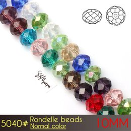 Wholesale Rondelle Glass Crystal - Fashion Faceted Nail Art Rondelle Beads 10mm Normall Color A5040 72pcs set Crystal Beads in Bulk
