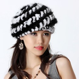 Wholesale Genuine Mink Hat - Wholesale-Fashion Women's Genuine Real Knitted Mink Fur Berets Hats Rex Rabbit Fur Patchwork Lady Warm Caps VF0499