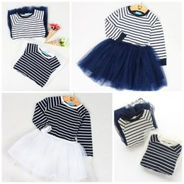 Wholesale Baby One Piece Tutu Dress - Girls Dress Princess Dresses Summer One-Piece Dress Baby Clothes Striated Long Sleeve Tops Solid Tutu Tulle Skirt Kids Clothing XY503