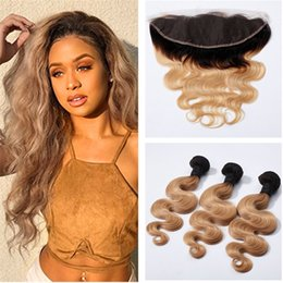 Wholesale 1b 27 Human Hair Weave - Honey Blonde Ombre Hair With Lace Frontal 1b 27 Brown Blonde Body Wave Lace Frontal With Bundles Body Wave Human Hair Weaves