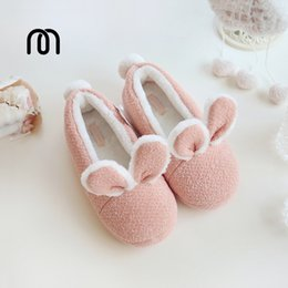 Wholesale Super Cute Rabbit - Wholesale-Millffy new Cotton warm shoes cute adorable bunny slippers rabbit super soft warm anti- slip shoes