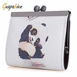 Wholesale metal frames for purses - Wholesale- Guapabien Women Cion Purse Retro Cute Animal Limo Girl Graffiti Oil Painting Metal Frame Small PU Purse Coin Case For Ladies
