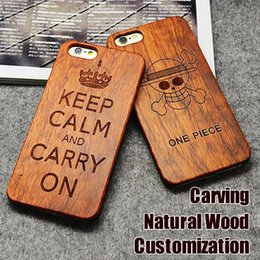 Wholesale Leather Cover Wood - Engraving Wood Phone Case For iPhone 7 Cover Carved Wooden Bamboo For iphone 6s 6 7 Plus Samsung S8 Plus S7 edge Customized