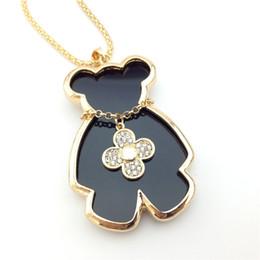 Wholesale I Teddy - Wholesale- Girls Trinkets Mis Naszyjnik Diamante Gold Plated Clover I Bears Teddy Bear Sweater Pendant Necklaces Chain Women Jewelry