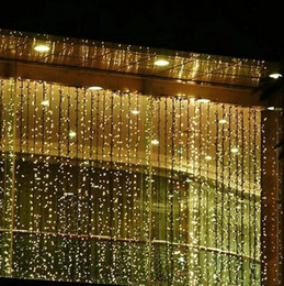 Wholesale Led Christmas Lights Clear - RGB 300 LEDS 3M*3M Led Waterfall Outdoor String Light Christmas Wedding Party Holiday Garden LED Curtain Lights Decoration AC110V-250V
