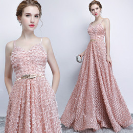 Wholesale Sexy Evning Dresses - Evning Dress Elegant Pink Spaghetti Neck Sleeveless A Line Zipper Back Sweep Train Lace Tulle Pleats Sweet Party Prom Dress