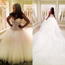 Wholesale Wedding Dress Back Tail - Luxury Quality Arabic Ball Gown Wedding Dress Cathedral Train Sweetheart Sleeveless Crystals Corset Lace up Back Bridal Gowns Long Tail