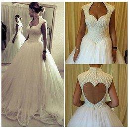 Wholesale Pearl Beads Online - New Design A-Line Pearls Beaded Wedding Dresses Open Back Tulle Skirt 2017 High Quality Long Wedding Wear Custom Online