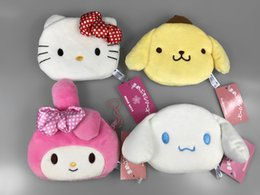 travesseiro de feijão Desconto Venda por atacado - Hello Kitty Melody Cinnamoroll Pompompurin Coin Purse Unisex Carteira Multi-funcional Kawaii Bag Anime Plush Toys