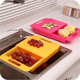 Wholesale Plastic Wash Sink - Sink Cutting Board Adjustable Cutting Board Chopping Blocks Plastic Drain Basket Vegetables Cut With One Washing Sink Rack OOA1949