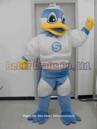 Wholesale White Duck Adult Costume - Muscle ducks mascot costume free shipping, cheap high quality carnival party Fancy plush walking Muscle ducks mascot adult size.
