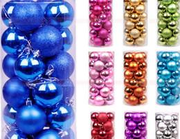 Luci di albero di natale rosa online-Palline di Natale Xmas Tree Decoration Decoration Light Ball 8cm 24 Pz Palla di Natale Decorazione albero di natale Pendente Gocce pendenti con corda