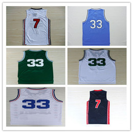 Wholesale Birds Homes - USA Dream Team 7 Larry Bird Jersey Throwback Indiana State Sycamores 33 Larry Bird College Jerseys Home Green White Navy Blue Drop Shipping