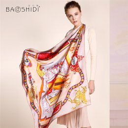 Wholesale Thick Silk Scarf - Wholesale- [BAOSHIDI]100% silk scarf,2016 Autumn New Arrival, 16m m thick, Infinity 106*106 Scarves women,luxury brand scarfs,blanket shawl