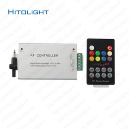 Wholesale Music Rf Controller - HITOLIGHT 18-key Aluminum RGB RF Controller DC12-24V 12A for RGB LED Strips RF Audio Sound Sensitive Music Controller