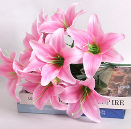 Wholesale Silk Lily Bouquets - 4pcs Artificial 10 Head Lily Silk Flower Leaf Stem For Wedding Bridal Bouquet Home Office Decoration