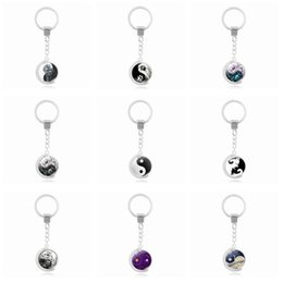 Wholesale Rings Tai Chi - Good A++ Hot tai chi series double-sided rotating time gemstone key ring pendant alloy key ring KR225 Keychains mix order 20 pieces a lot