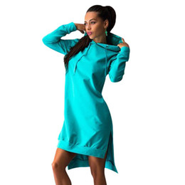Wholesale Mini Hoodies - New Arrival Women Casual Hoodie Tops Long Sleeve Hooded Mini Dress