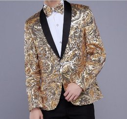 Wholesale Purple Dancers - Wholesale- yellow red Sequins compere blazer jacket fashion prom super star wedding dress for singer dancer star nightclub performance show