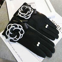 2019 перчатка экран сенсорный оптом Оптовая торговля-lovs зимние женские перчатки для сенсорного экрана кашемировые варежки женский большой цветок теплые шерстяные перчатки женщины вождения перчатки дешево перчатка экран сенсорный оптом