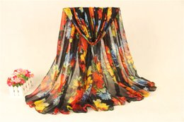 Wholesale Zig Zag Headband - New Arrival Women Scarf Voile Material 180X90CM Long Beach Autumn Warm Scarves Bright Floral Printed Shawls and Wraps SS-018